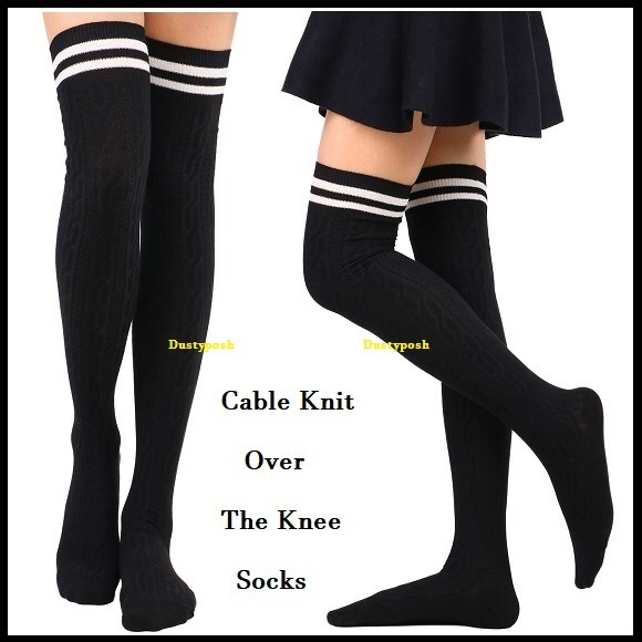 a199c32d68a Cable Knit Over The Knee Socks Stripe Thigh High